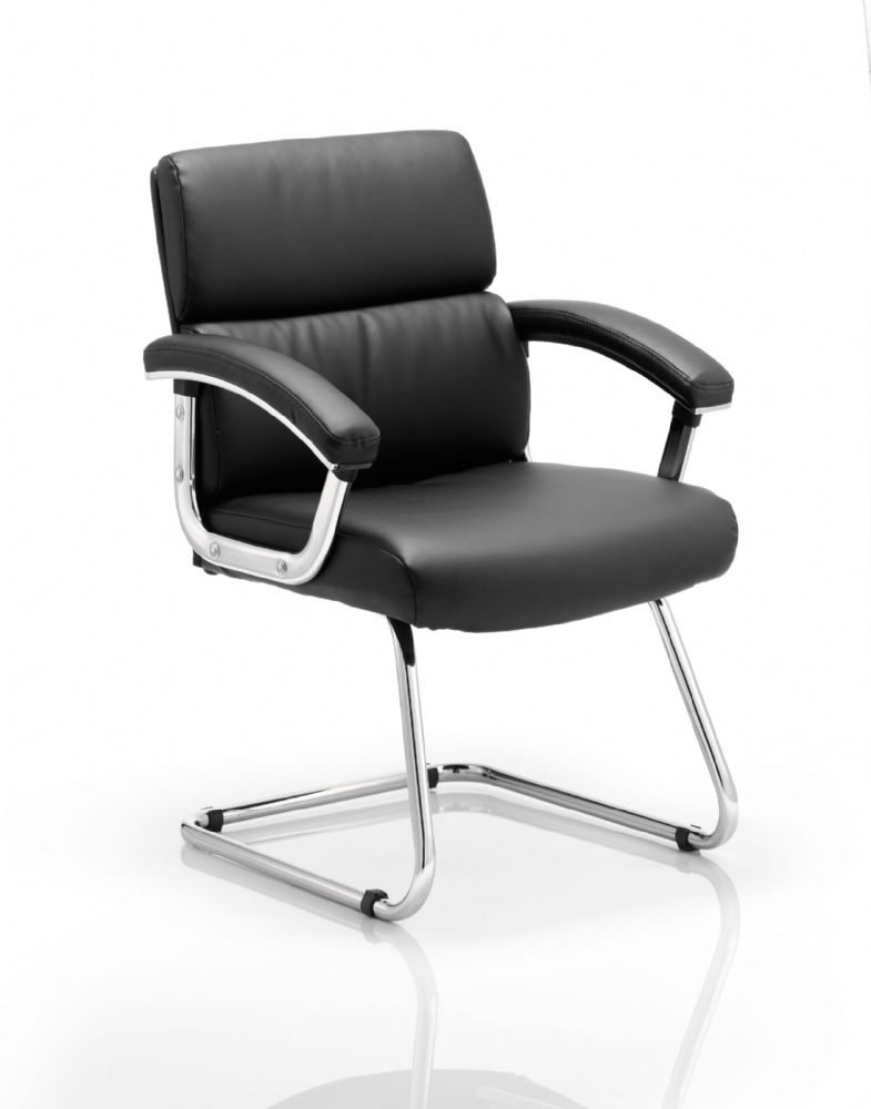 Desire Classic Executive Cantilever Visitors Chair Chrome Frame With Padded Arms Black Leather